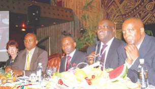 Industrial Development Corporation general manager, Mr Mike Ndudzo (second from right) responds to questions from the floor at the Buy Zimbabwe conference held in Harare yesterday. Looking on are Ms Yvonne John from South Africa (extreme left), Kingdom Financial Holdings founder Mr Nigel Chanakira, TN chief executive Mr Tawanda Nyambirai, and Rosemarket chief executive officer Mr Tim Chiganze.
