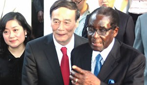 PRESIDENT Mugabe leads Chinese Vice Prime Minister Wang Qishan into State House in Harare yesterday