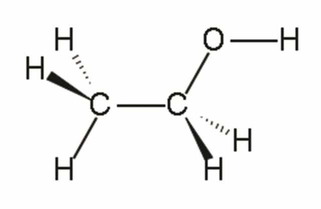 Молекула этилового спирта (определенная при помощи в центре) и скелетная формула (справа)