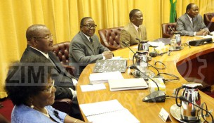 President Mnangagwa chairs his inaugural Cabinet meeting as Head of State and Government while flanked by Ministers Sithembiso Nyoni, Obert Mpofu, Simon Khaya Moyo and Chief Secretary to the President and Cabinet Dr Misheck Sibanda (far left) at the Munhumutapa offices in Harare yesterday. — (Picture: Believe Nyakudjara)
