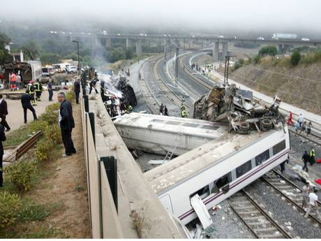 At least 77 people were killed and 130 injured when a train derailed near the northern Spanish city of Santiago de Compostela - AP