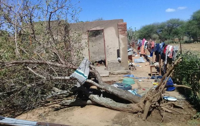 One of the Mangwe District homesteads destroyed by hail