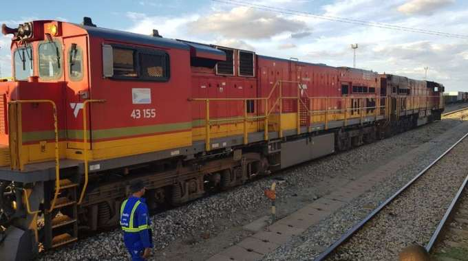 One of the locomotives that were delivered to the National Railways of Zimbabwe at the weekend as part of the parastatal's $400 million recapitalisation programme. — (Picture by Thupeyo Muleya)
